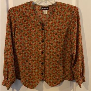Vintage Notations Blouse Red w/ Bamboo print 70's